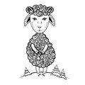 Cute little lamb cartoon sheep vector graphic hand drawn illustration, ink skethc cub ewe isolated on white background