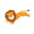 Cute little lion lion jumping hand drawn illustration of isolated on white background Stock Photo
