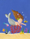 Cute little mermaid acrylic illustration of Royalty Free Stock Photo