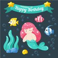 Cute little mermaid birthday card. Marine life cartoon characters in cute doodle style. Birthday card template