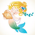 Cute little mermaid holding a shell on white background Royalty Free Stock Photo