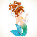 Cute little mermaid with pearl isolated on white background Royalty Free Stock Image
