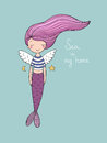 Cute little mermaid with wings. Siren. Sea theme.