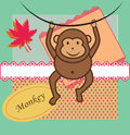 Cute little monkey sticker scrapbook elements Royalty Free Stock Images