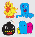 Cute little monsters sticker v3 Royalty Free Stock Photography