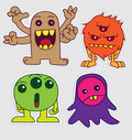 Cute little monsters sticker v4 Royalty Free Stock Images