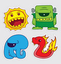 Cute little monsters sticker v5 Stock Photography