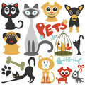 Cute little pets cats and dogs set of Stock Photography