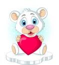 Cute little polar bear holding heart love illustration of Royalty Free Stock Photo