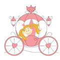 Cute little princess  in the carriage Royalty Free Stock Photo