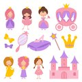 Cute little princess with crown and fairy-tale vector elements
