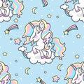 Cute little rainbow unicorn. Seamless pattern.