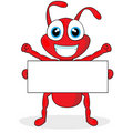 Cute little red ant with blank sign Royalty Free Stock Photography