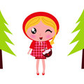 Cute little Red riding hood in a Forest Stock Photos