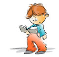 Cute little school boy reading a book simple freehand loose style cartoon Stock Images