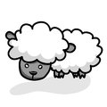 Cute little sheep isolated illustration on white background Royalty Free Stock Images