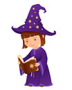 Cute little sorceress girl with magic book Royalty Free Stock Photos