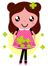 Cute little spring girl with four romance leaf clovers vector illustration Stock Image