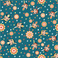 Cute little squaws vector seamless pattern in custom colors Royalty Free Stock Photos