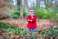Cute little toddler girl in red coat in autumn park Royalty Free Stock Photo
