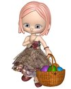 Cute little toon girl basket colourful easter eggs d digitally rendered illustration Stock Photos