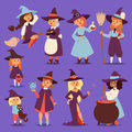 Cute little witch hag harridan vixen with broom cartoon cat for print on bag magic Halloween card fantasy young girls