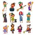 Cute little witch hag harridan vixen with broom cartoon magic Halloween young girls character costume hat vector