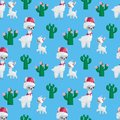 stock image of  Cute llamas families seamless pattern