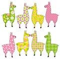 Cute llamas with patterns