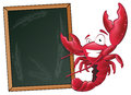 Cute lobster with sign board great illustration of a happy waving his pincers in the air next to a chalkboard Royalty Free Stock Photography