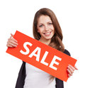 Cute long-haired girl with red placards Stock Photos