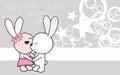 Cute love baby boy and girl bunny cartoon background