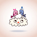 Cute love birds on cloud cartoon illustration Royalty Free Stock Images