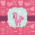 Cute Love Card with Cat - for valentine's day Stock Image