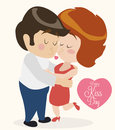 Cute In Love Couple Kissing each other in Retro Style, Vector Illustration