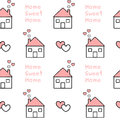 Cute lovely black white pink home sweet home seamless pattern background illustration
