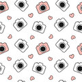 Cute lovely black and white and red camera seamless pattern background illustration Royalty Free Stock Photo