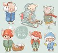 Cute lovely cartoon pigs vector collection