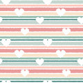 Cute lovely horizontal striped seamless vector pattern background illustration with hearts
