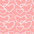 Cute lovely pink and white sketch hearts seamless pattern background illustration