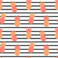 Cute lovely seamless vector pattern striped background illustration with pineapples