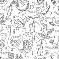 Cute Lovely tribal Bird Singing Summer Seamless Endless Vector Illustration