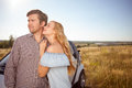 Cute loving couple is traveling with pleasure handsome young men and beautiful women are enjoying their trip and smiling they are Stock Image