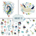 Cute magic collection with princess, unicorn, rainbow, dragon Royalty Free Stock Photo