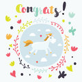Cute magic unicorn and rainbow poster, greeting card