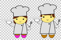 Cute man and woman chef at transparent effect background Royalty Free Stock Photo