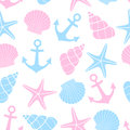 Cute marine life Background. Nautical seamless pattern with starfish, shell, anchor on white background.