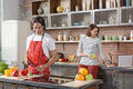 Cute married couple cooking together Royalty Free Stock Photo