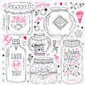 Cute mason jars set. Valentines hand drawn doodle collection. Vector wishes jar with lettering. Love illustration for greeting car