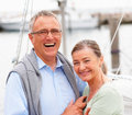 Cute mature couple on a sea voyage Stock Photo